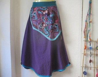 Long purple paisley cotton apron with skirt size S