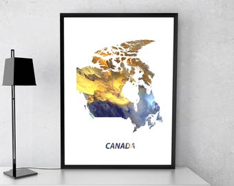 Canada poster, Canada art, Canada map, Canada print, Gift print, Poster