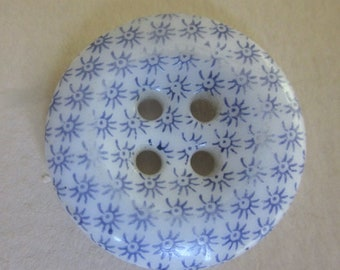 "PURPLE 1"" Large Calico China Button.  Picture Shows Blue but Purple.  OneWomanRepurposed B 28"