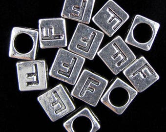 "20 7mm pewter alphabet cube bead letter ""F"" findings 18873"