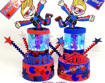 Parachuting party, Skydiving birthday, Custom cake toppers, Personalized cake toppers, Skydiver party, Parachuting birthday with LED lights
