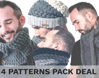 Crochet Pattern Pack with VIDEO tutorials! 2 Cowls, 1 Hat, 1 Scarf. Unisex Crochet Patterns. Men's Crochet Pattern. Slouchy Beanie. Cowl