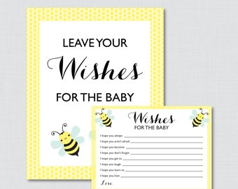 Bumble Bee Wishes for Baby Baby Shower Activity in Yellow - Printable Well Wishes for Baby Cards and Sign - Instant Download - 0021