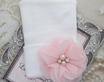 Newborn Hospital Hat, white with a pink chiffon flower, take home beanie, beenie, infant, baby hat, Lil Miss Sweet Pea Boutique