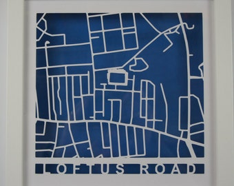 QPR - Loftus Road - Laser cut map - Shadow Frame - White - Stadium Map - Football - Soccer