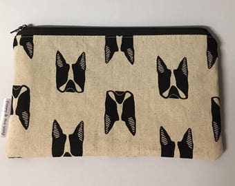 Bulldog French English British Natural Linen Pencil Case / Make Up Bag