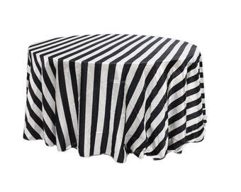 YCC Linen   132 Inch Satin Round Tablecloth Striped Black And White |  Wedding Tablecloths