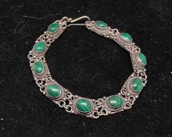 Vintage Sterling Silver and Malachite Bracelet MARKED