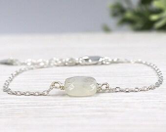 Moonstone faceted chain bracelet