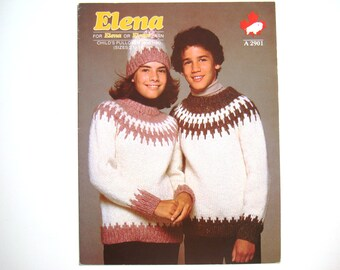 White Buffalo Childs Pullover & Hat Knitting Patterns A 2901 Elena Paper Pattern Sizes 2 to 14 Fair Isle Knit Chart Design Icelandic Style