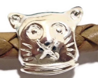Kitty Cat Sterling Silver Large Hole Beads for European Charm Bracelets, Large Hole Spacer Beads, Large Hole Bead Charms, European Charms