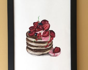 INSTANT DOWNLOAD PANCAKES with berry fruit