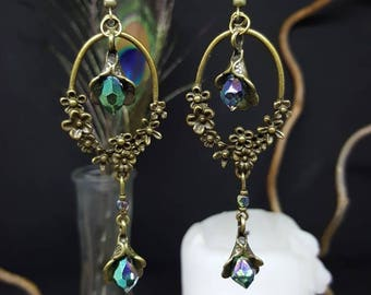 Earrings Romantic Flowers - flowers - Crystal - Victorian - shabby - chic - floral - Valentine's day