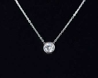 Cubic Zirconia Solitaire Necklace, Sterling Silver Necklace, Round Cubic Zirconia Slider, Bridal Necklace, Bridesmaid Necklace