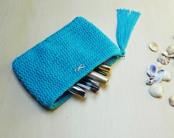 Crochet Pouch - Zipper Pouch -  Crochet Accessories - Cosmetic Bag
