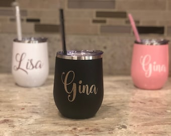Bev Stainless Steel Wine Tumblers,Personalized Stainless Steel Stemless Wine Tumblers, Wine Tumblers with Lid and Straw, wine tumbler