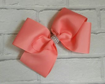 "Large 8"" Coral Boutique Hair Bow with Rhinestones like JoJo Siwa Bows Signature Keeper Dance Moms"