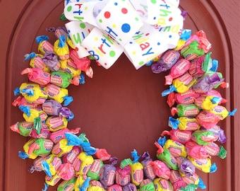 Bubble Gum Birthday Candy Wreath College Student Gift Kids Party Gift Arrangement Unique Edible Centerpiece