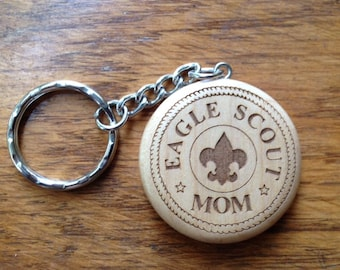 Scout Eagle Round Maple Keychain #2- Custom Laser Engraved