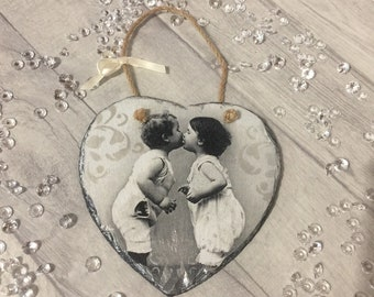 Vintage style shabby chic slate hanging heart/wedding gift/decoupaged slate/heart/hanging/vintage heart/gift/wall decor