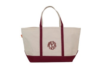 Maroon Tote Bag with zipper, Monogrammed Tote Bag, Large Boat Tote, Personalized Canvas Tote Bag