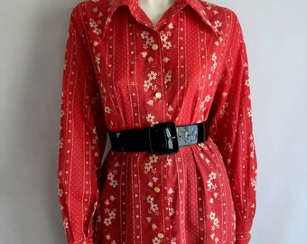 Vintage Womens 70's Red, Floral, Tunic, Blouse, Long Sleeve by Mary Jane (2X/3X)