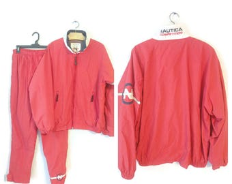 NAUTICA Mens Jacket and Pants size Large Red Competition