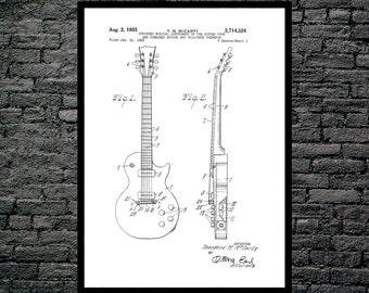 Gibson Les Paul Guitar Patent Poster Guitar Art Guitar