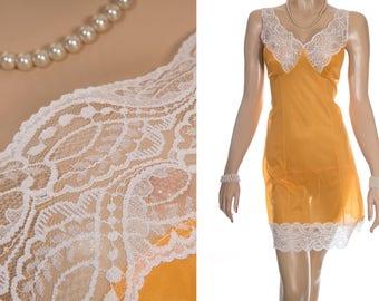 Gorgeous shiny silky soft saffron yellow nylon and delicate white floral design lace detail 1980's vintage full slip petticoat - S364