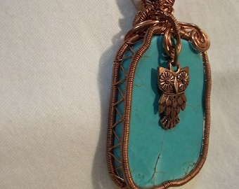 Owl & copper Blue Turquoise stone pendant wire wrapped  Necklace