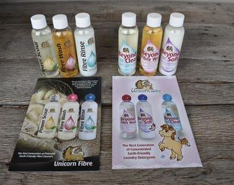 4 ounce Unicorn Products - Power Scour, Fibre Wash, Fibre Rinse, Beyond Clean, Beyond Fibre Wash and Beyond Soft