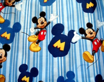 FABRIC -Mickey Mouse on blue stripes - FAT Quarters and more
