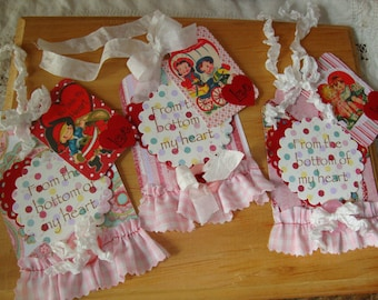Valentine's Day tags embellished gift tags package ties vintage style cute children party favors tags paper art tags retro gift for friend