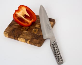 Small Rustic Solid Oak End Grain Wooden Chopping and Serving Board