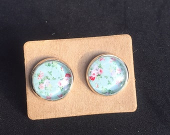 Blue and Pink Flower Earring Studs