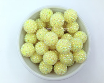 20mm Pastel Yellow AB Rhinestone Chunky Beads Set of 10, Spring Yellow Bubble Gum Beads, Acrylic Beads