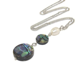 White Pearl & Blue Green Paua Shell Pendant Necklace, Beautiful Beach Jewelry