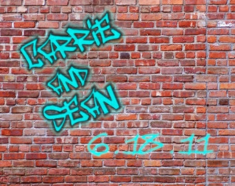 Graffiti Personalized Picture, Names and Date on the Wall, Unique Boyfriend Gift, Girlfriend Gift, Custom Couple Print