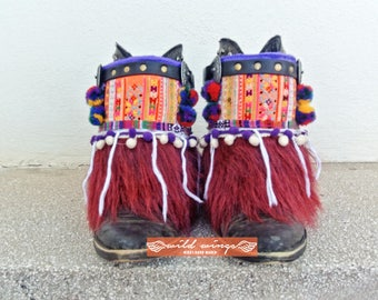 Hmong Boot Bracelet,Ibiza Style Boots,Festival Boots,Gypsy Boot Cuff,Banjara Bohemian Boots,Tribal Cuff,Hmong Boot Cuffs,Hippie Boot Cuffs