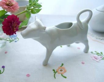 Vintage cow creamer, French white porcelain cow milk jug pitcher, made in France china cow dairy pot, country farmhouse kitchen decor 1 flaw