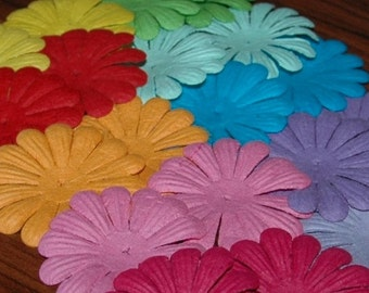 """2"""" (5cm) Mulberry paper daisy flowers, 20, 50 or 100 in a mixed color pack. Super card making and scrap booking layout embellishments"""
