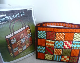 """Bucilla """"Patchwork"""" Needlepoint Tote Bag Kit, Plastic Canvas Bargello Needlepoint Tote Bag Kit, New in Package"""