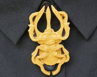 Large beetle Rhinoceros pin Golden resin