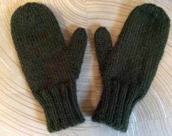Childs part wool mittens,8-10yr old, hand knit mittens, Childs mittens,wool acrylic mittens,mittens,hand knit, classic knit partwool mittens