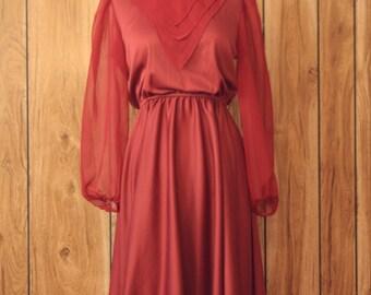 Vintage 70s marsala colored dress sheer sleeves merlot burgundy Medium