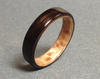 Ebony Bentwood Ring with Planetree Lining, Men's Wood Ring, Women's Wood Ring