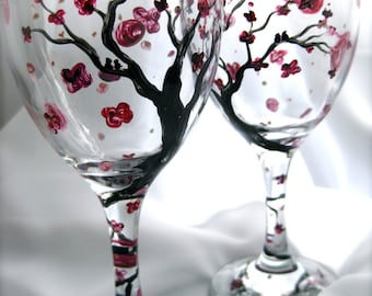 Cherry Blossom hand painted wine glasses, set of 2