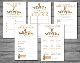 Woodland Baby Shower Games, word scramble, what's in the bag, price is right, what's in your purse, bingo, printable, DIY printing