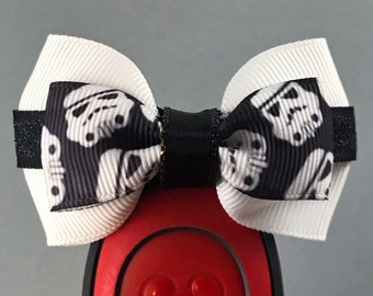 """Storm Trooper Magic Band Bow or Apple Watch Bow, 2"""" Mini Hair Bow, Planner Bow - Star Wars Collection"""
