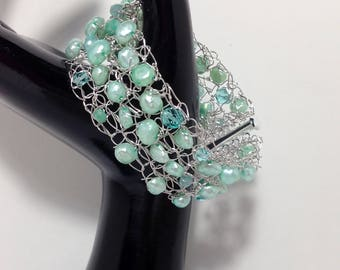 Bracelet Cuff, Teal Green Cultured Freshwater Pearl, Czech Faceted Glass, Non-Tarnish Silver Plated Wire, Slide Clasp, Wire Crochet